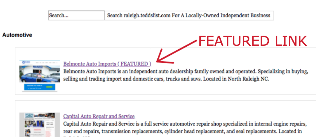 Featured Link for Locally Owned Independent North Carolina Businesses Listed in the teddslist.com marketplace