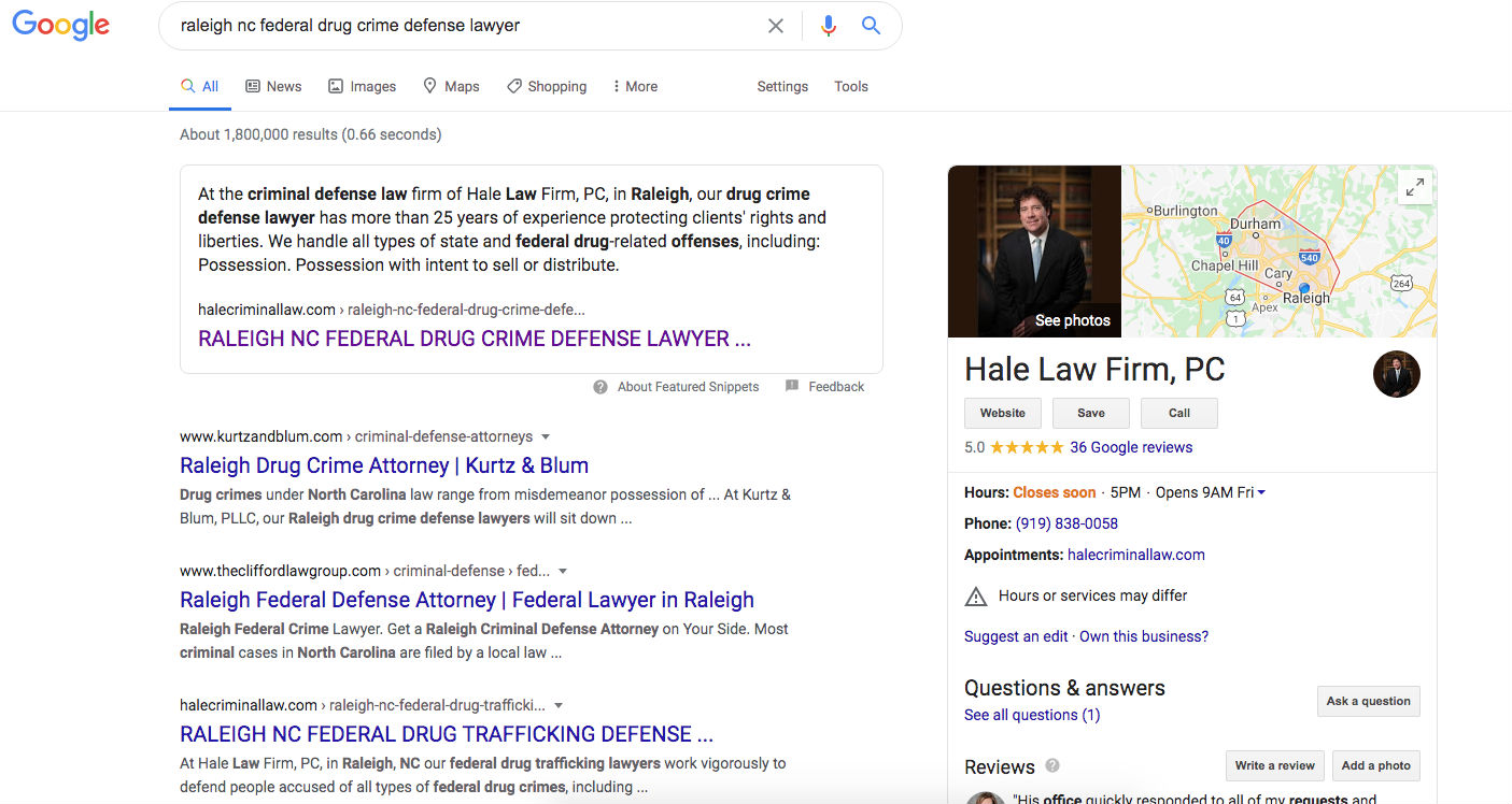 Hale Law Firm | Raleigh NC Federal Drug Crime Defense Lawyer