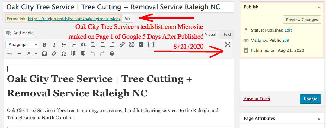 Oak City Tree Service teddslist microsite published 8/21/2020 Raleigh NC Tree Cutting and Tree Trimming and Tree Removal