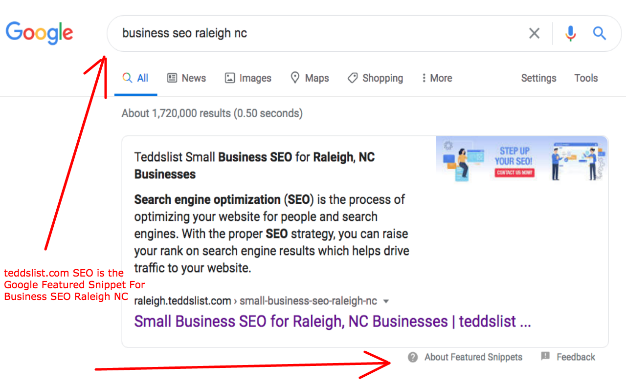 tedsslist.com SEO is the Google Featured Snippet For Business SEO Raleigh NC