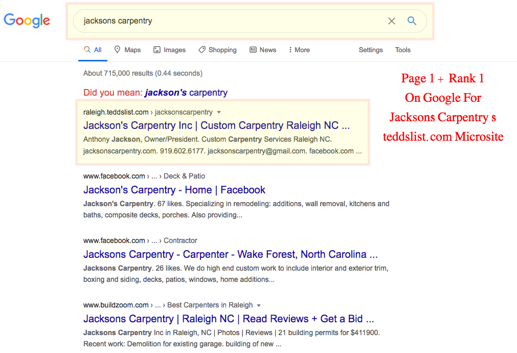 jackson carpentry page 1 rank 1 google microsite