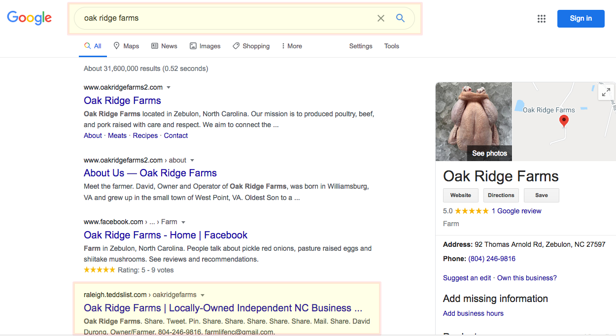 oak ridge farms google page 1
