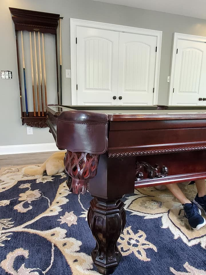 8 Foot solid cherry Brunswick Aristocrat pool table with matching cue rack sales, delivery and installation Raleigh NC. Professional Billiards 2 Year Celebration. 5