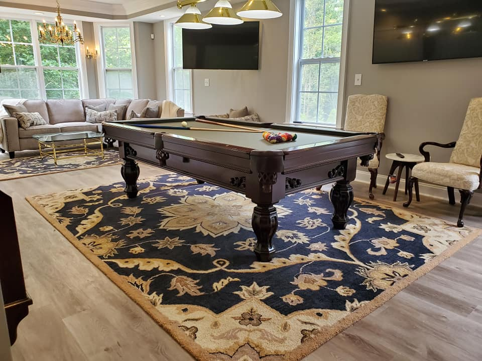8 Foot solid cherry Brunswick Aristocrat pool table with matching cue rack sales, delivery and installation Raleigh NC. Professional Billiards 2 Year Celebration. 2