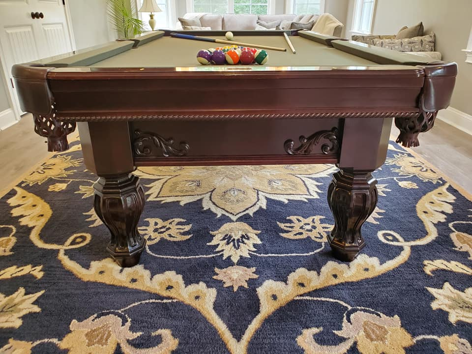 8 Foot solid cherry Brunswick Aristocrat pool table with matching cue rack sales, delivery and installation Raleigh NC. Professional Billiards 2 Year Celebration. 4