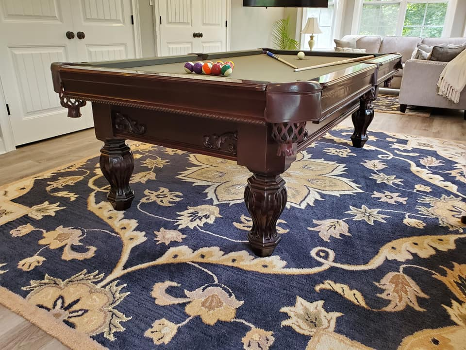 8 Foot solid cherry Brunswick Aristocrat pool table with matching cue rack sales, delivery and installation Raleigh NC. Professional Billiards 2 Year Celebration. 3