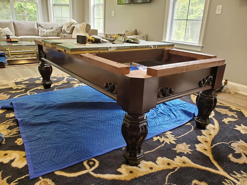 8 Foot solid cherry Brunswick Aristocrat pool table with matching cue rack sales, delivery and installation Raleigh NC. Professional Billiards 2 Year Celebration. 8