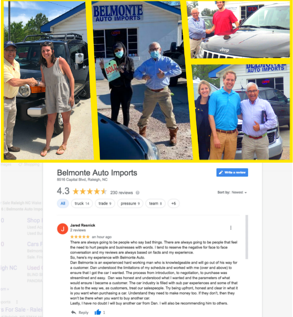 Dan Belmonte Co-owner of Belmonte Auto Imports an Independent Used Auto Dealership in Raleigh NC